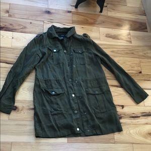 Forest green h&m jacket button & adjustable waist